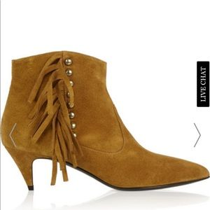 Saint Laurent Cat 50 Brown Fringe Suede Booties